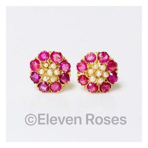 18k Gold Pearl Ruby Earrings